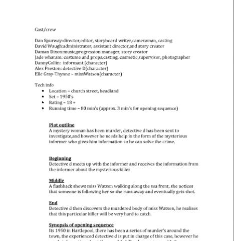 treatment sheet