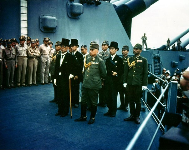 Victory over Japan Day on USS Missouri.  World War II ends