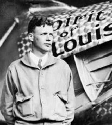 Charles Lindbergh completes his sol flight across the Atlantic Ocean