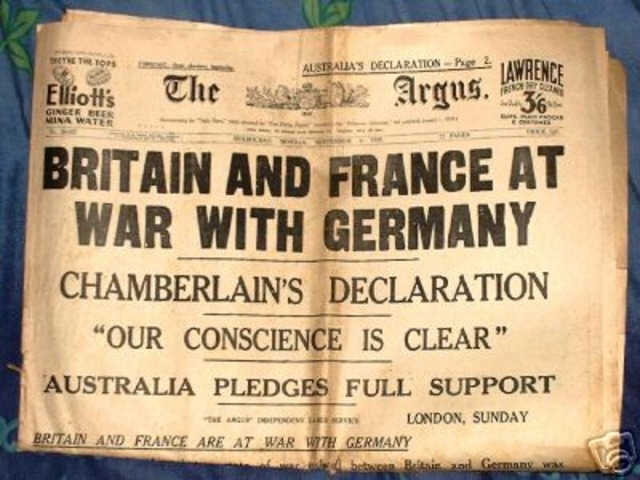 Germany Invaded Poland and Britain and France declare war on germany
