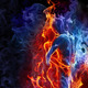 Red and blue fire background 2