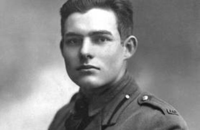Hemingway responded to a Red Cross recruitment effort in Kansas City and signed on to be an ambulence driver in Italy during WWI, and drove them for two months until he was injured.