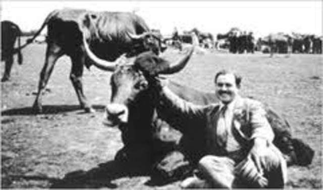 With his wife Hadley, Hemingway first visited the Festival Lof San Femin in Pamplone, spain where he became fascinated by bullfighting.