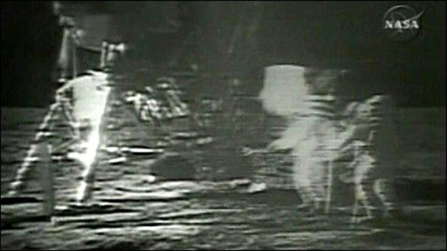 U.S. Moon Landing Shown on T.V.
