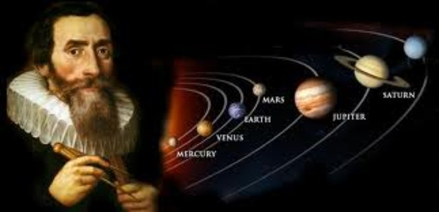 Johannes Kepler posits three laws of planetary motion