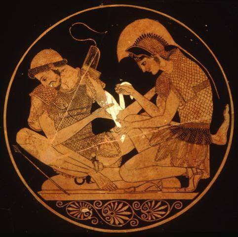 Patroclus, Achilles friend, came to try to get him to come to battle.
