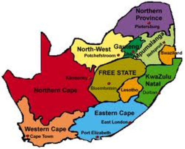 Map Of South Africa 9 Provinces.1900 Present A Day Timeline Timetoast Timelines