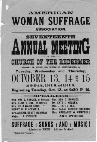 The National Women's Suffrage Association and the American Suffrage Association merge