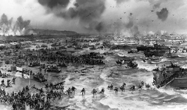 U.S. troops successfully land on the Normandy beaches.