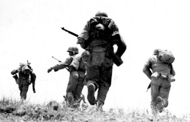 Allied troops conquer Okinawa.