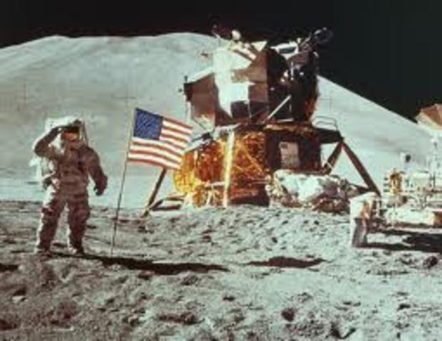 Neil Armstrong becomes first man to walk on moon.