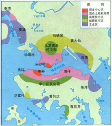香港城市土地利用簡圖