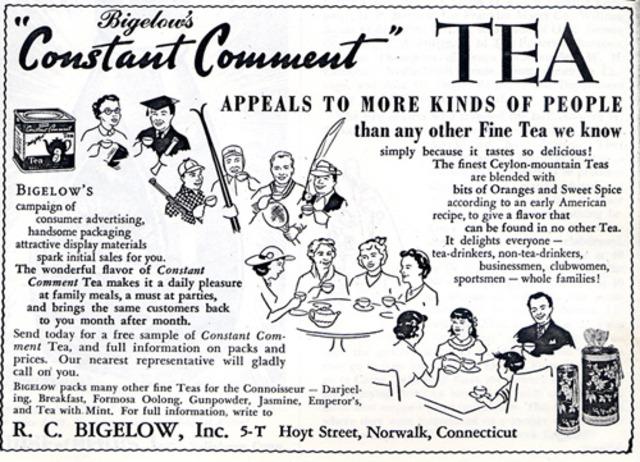 Advertisement for Bigelow's Specialty Tea