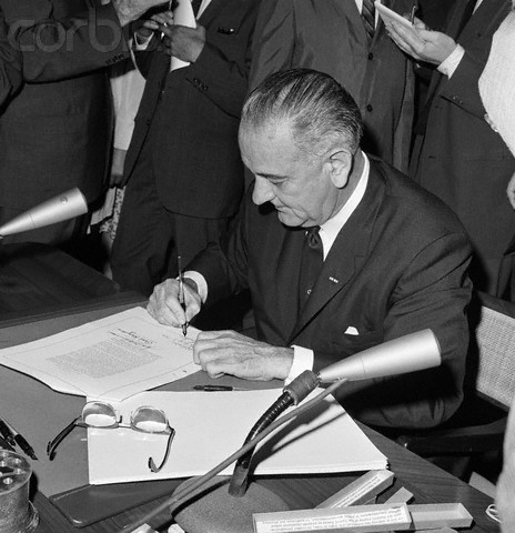 U.S President Lyndon B. Johnson signed the Civil Rights Act
