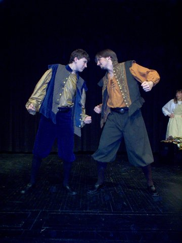 Lysander and Demetrius begin to fight