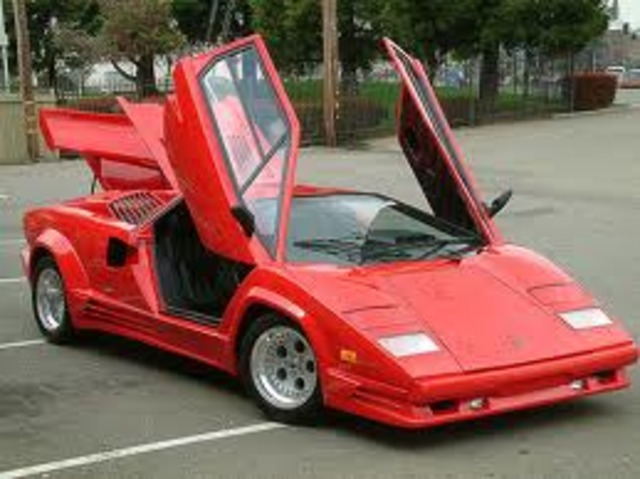 1980's Lamborghini Coutach: A very famous and highly recognizable car it is one of the most sought after classic cars, also used as a race car