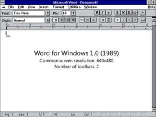 Microsoft ofrece la versión 1.0 del procesador de textos Word para DOS