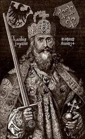 Charlemagne is crowned Holy Roman Emporer by Pope Leo III