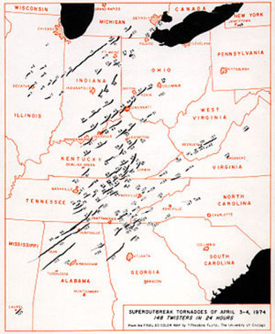 Super Outbreak of tornadoes on the year of 1974