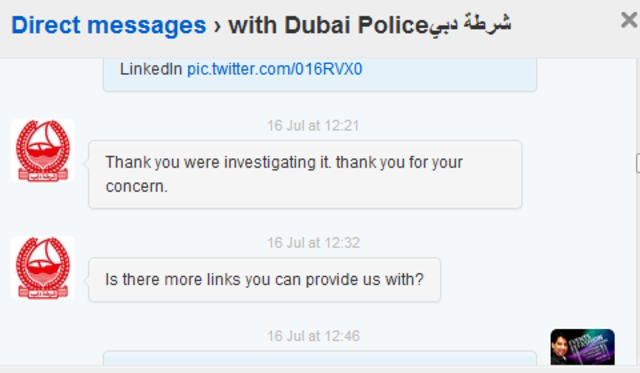 Contacted Dubai Police