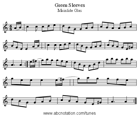 """Greensleeves"" created in English Music"