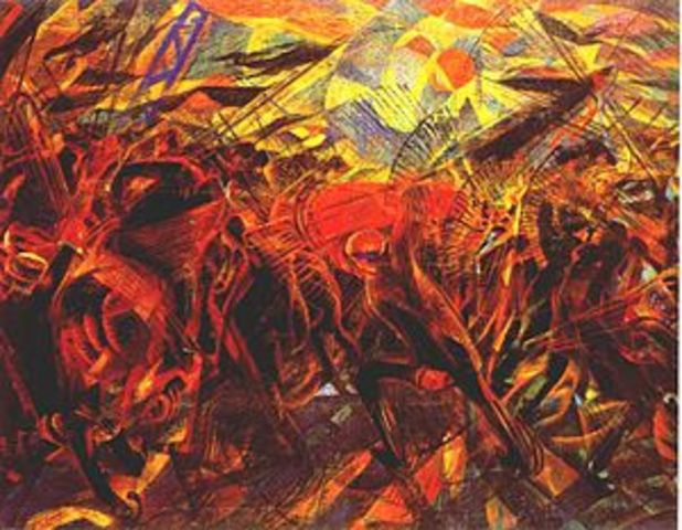 Carlo Carra - The funeral of the anarchist Galli (oil on canvas 198.7 cm. × 259.1 cm)