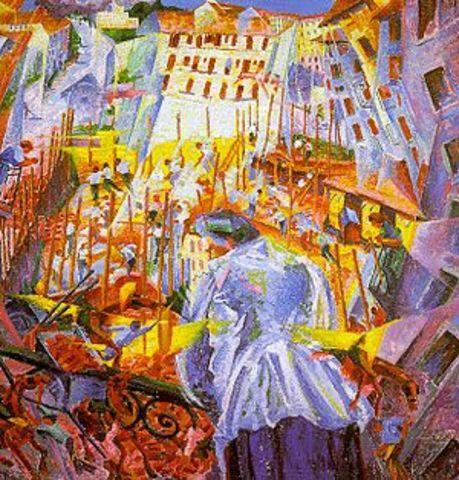 Umberto Boccioni - The street enters the house (Oil on canvas 100.0 cm × 100.5 cm)