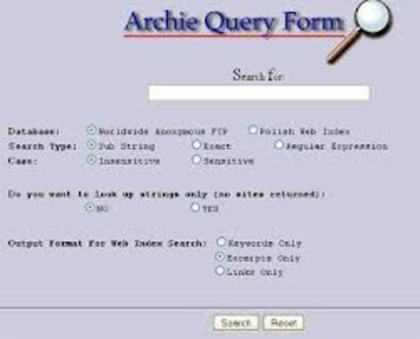 Archie- first search engine