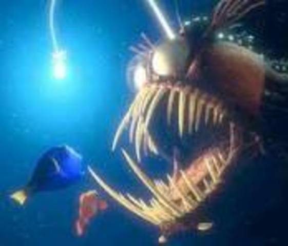 The light fish hypnotizes Marlin and Dory, Dory reads the mask toMarlin (P. Sherman, 42 Wallaby Way, Sydney)