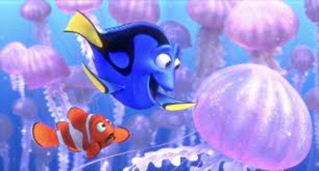 Dory and Marlin meet school of fish, and get stung by jellyfish.
