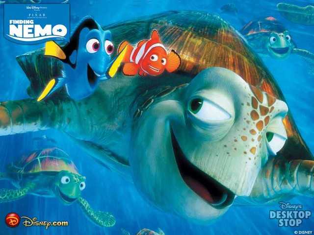 Dory and Marlin meet Crush, the turtle, and Marlin tells his story.