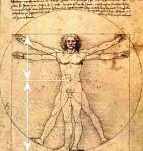 Leonardo da Vinci draws the Vitruvian Man