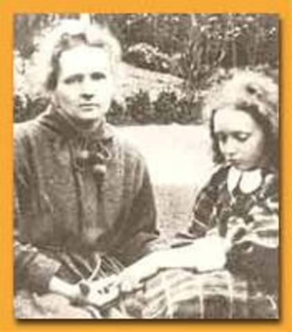 Her first child, Irène (future Nobel prize winner) was born.