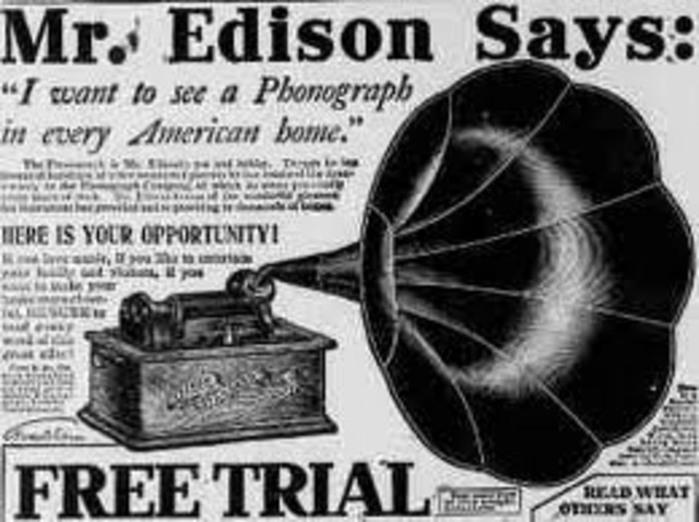 Phonograph perfected by Thomas Edison