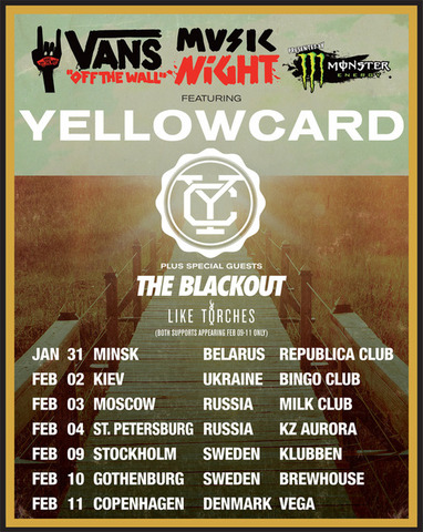 Yellowcard will tour in Europe