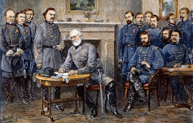Lee Surrenders to Grant at Appomattox Courthouse
