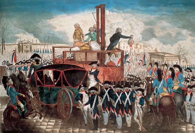 Muerte en la guillotina en el mes de enero del monarca francés Luis XV