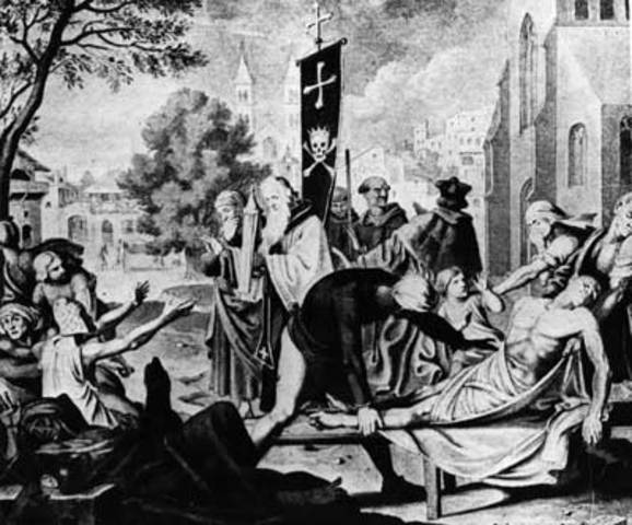 The black death spreads throughout Europe