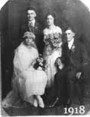 Jack marrys Jessie Paterson. (picture of a 1918 wedding)