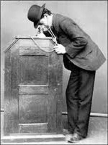 "Thomas Edison demonstrates the first ""talking movie"""