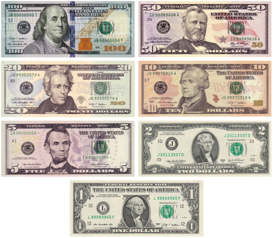 Modern U.S. Currency Notes First Issued