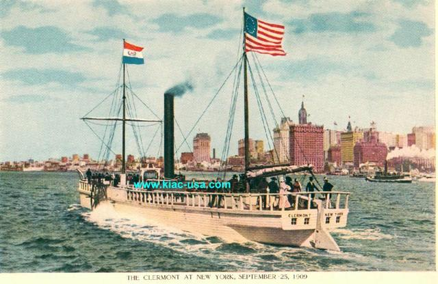 Robert Fulton Develops First River Paddle Steamship