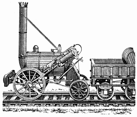 George Stephenson Develops First Locamotive Firm to Use Steam Powered T ransportation
