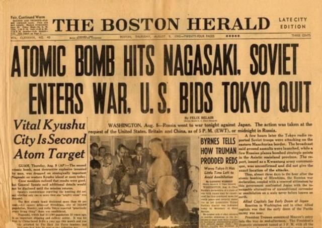 US drops atomic bomb on Nagasaki, Japan
