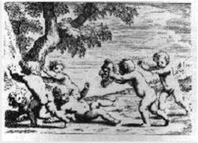 Niños jugando con máscaras de terror (Jacques Stella, 1657}