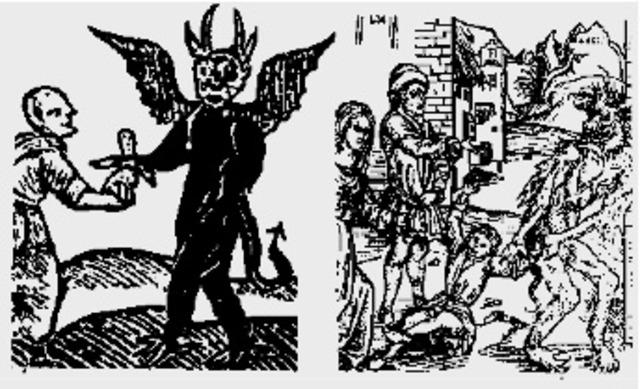 Padres malos dándole sus hijos al diablo.
