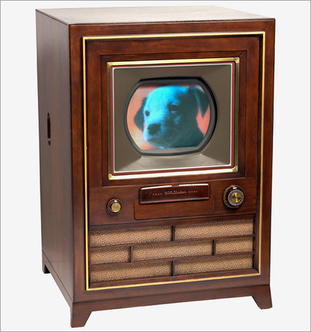 John Logie Baird demonstrates the first color television.