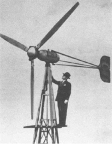 The first commercial wind turbine sold to farmers for power.