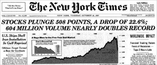 "New York stock exchange fails on ""Black Monday"""