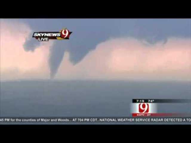 twin tornadoes near Oklahoma.